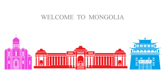 Abstract architecture. Isolated Mongolia architecture on white background
