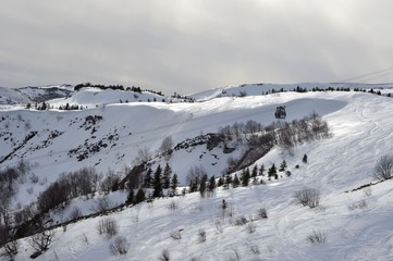 Télécabines de Super-Besse, station de ski, Auvergne, France