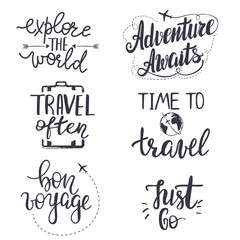 Set of inspirational travel quotes.