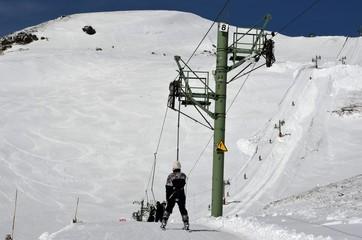 Tire-fesse, jonction de Super-Besse vers la station du Mont-Dore, Auvergne, France