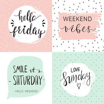 Set of four templates with quotes about weekend