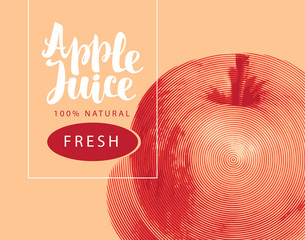 Vector banner for natural fresh apple juice with a realistic image of an apple and handwritten inscription