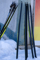 Image of large selection of skis in store.