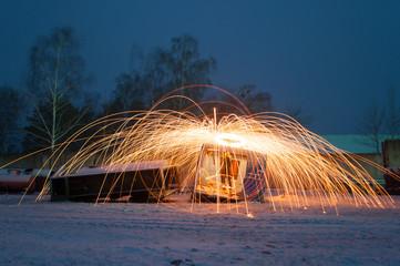 Amazing steel wool fire,