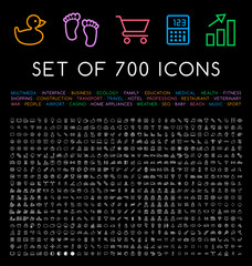 Set of 700 Minimal Universal Isolated Modern Elegant Thin Line Icons on Black Background . Isolated Vector Elements