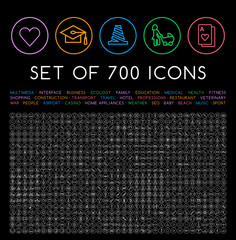 Set of 700 Minimal Universal Isolated Modern Elegant Thin Line Icons on Circular Buttons on Black Background . Isolated Vector Elements