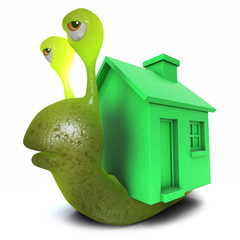3d Funny cartoon snail character wearing a greenhouse instead of a shell