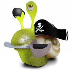3d Funny cartoon snail character wearing a pirates hat and eyepatch