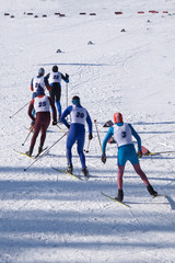 Professional Cross country skating in white winter forest. Original sport photo, winter game .