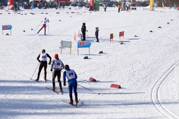 Ski staff on the track before the world Championships in ski sports .