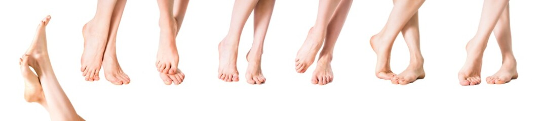 Beautiful well-groomed female a feet isolated on a white background