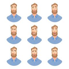 Face of man with beard -set
