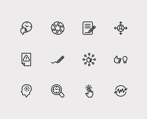 Multitasking icons set. Audit time and multitasking icons with get in routine, focus and capability. Set of elements including gesture for web app logo UI design.