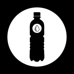 Black silhouette of a plastic water bottle