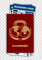 International passport with  airline tickets. Air travel concept. Vector illustration.