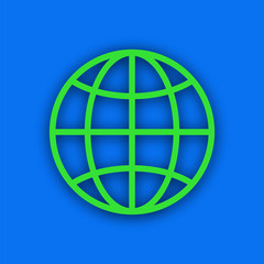 Paper green earth, with the equator and meridians on a blue background