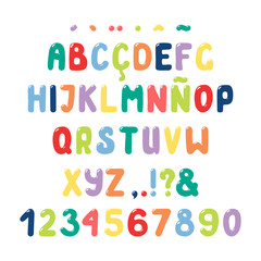 Hand drawn cute roman alphabet with numbers, punctuation marks, diacritics for Spanish, Italian, Portuguese, French. Make your own lettering. Isolated letters on white background. Vector illustration.