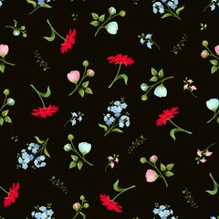 Vector seamless pattern with red, pink and blue gerbera, ranunculus and forget-me-not flowers on a black background.