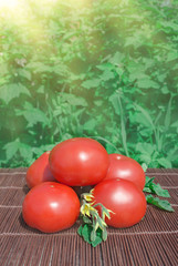 Red tomatoes on wooden rustic table outdoors