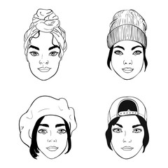black and white portraits of girls with different headpieces, fashion vector illustration
