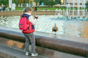 little girl baby with a backpack for travel shoots on the camera and takes pictures of a bird duck near the city fountain in the park.