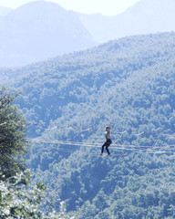 Walk a line in the sky.Turkish Highline Carnival in Antalya.