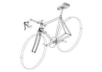 bicycle 3D blueprint - isolated