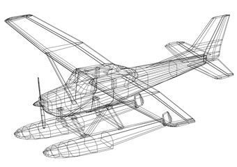 hydroplane 3D blueprint - isolated