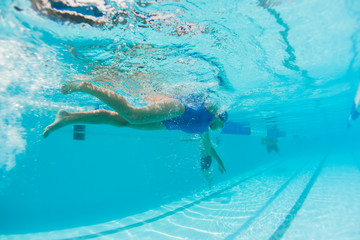 Girl Swimming Training Underwater Photo