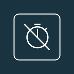 No timer icon line symbol. Premium quality isolated chronometer element in trendy style.