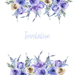 Watercolor blue and brown roses and plants card template, Invitation card design, hand painted on a white background