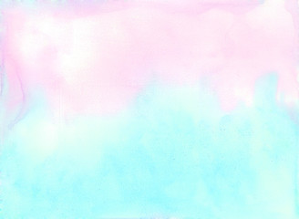 Pink and blue watercolor background.