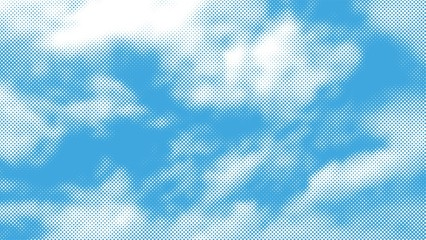 Color halftone texture of clouds. White clouds against blue sky. Vector illustration.