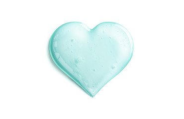 Cosmetic Gel Texture In Heart Shape On White