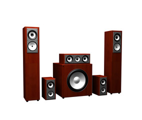 Red Sound Speakers System Isolated On White