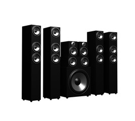 Black Sound Speakers System Isolated On White