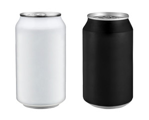 two soda cans with white background