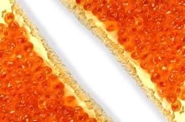 Red caviar sandwich close up