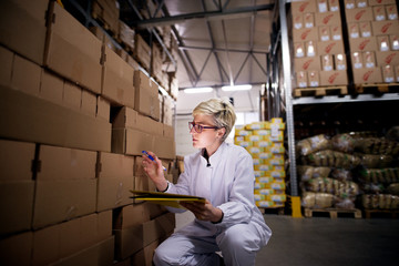 Young focused female worker is kneeling beside the big amount of box stacks counting them and writing what she counts in her yellow folder.