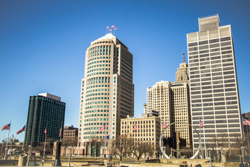 Detroit Michigan Skyline. Cityscape of downtown Detroit, Michigan with Hart Plaza in the foreground.  Detroit is the largest city in Michigan and is also known as the Motor City.