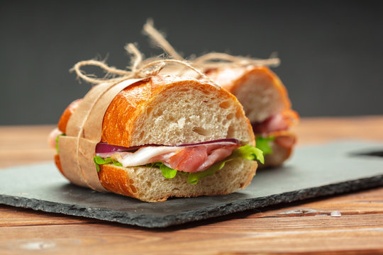 sandwich on a wooden table