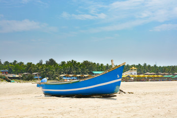 Fishing boats on the sand on Arambol beach in North Goa.India