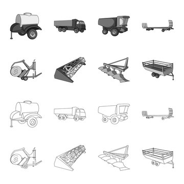 Plow, combine thresher, trailer and other agricultural devices. Agricultural machinery set collection icons in outline,monochrome style vector symbol stock illustration web.