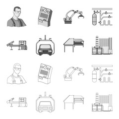 Automotive industry and other web icon in outline,monochrome style.New technologies icons in set collection.