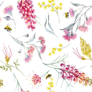 Watercolor australian grevillea vector pattern