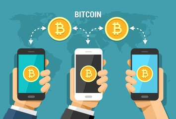 Vector flat illustration of bitcoin transfer between users all around the world. Bitcoin cryptocurrency technology operation
