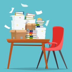 Pile of paper documents and file folders in carton boxes on office table.