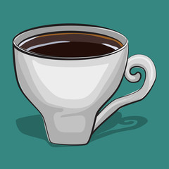 Cup of coffee isolated on background. Traditional drink for breakfast. Vector cartoon food icon.