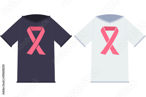 T Cancer Ribbon Template   Black And White T Shirt With Pink Ribbon Breast Cancer Vector