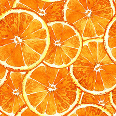 Watercolor seamless pattern of cut oranges painted in watercolor.